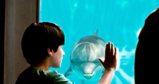 NATHAN GAMBLE as Sawyer Nelson and WINTER as herself