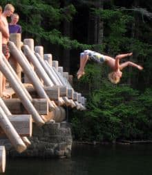 Johnny Hammer  jumping off a bridge