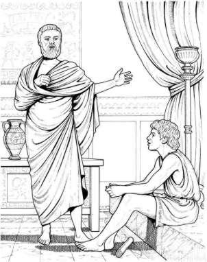 Alexander, as a boy, listening to Aristotle