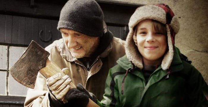 Ed Oxenbould and Peter McRobbie as Granfather and Grandson in The Visit