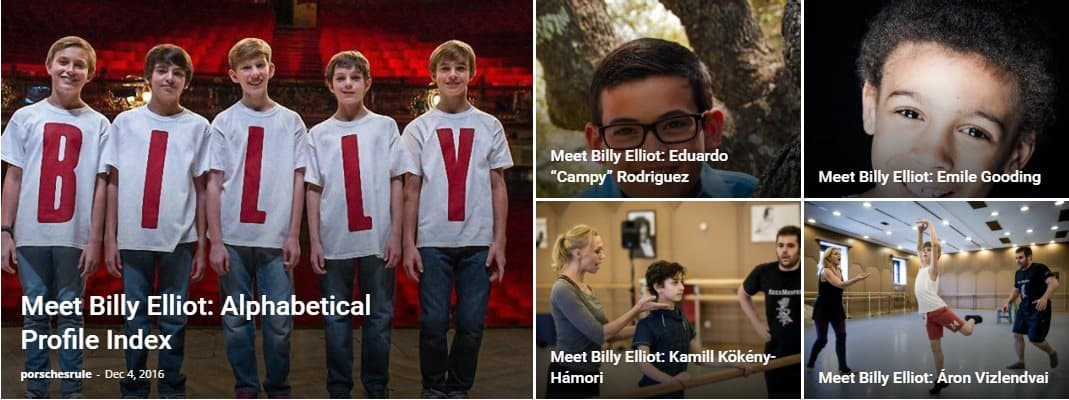 Detailed information about Billy Elliot the Musical (BETM), contained in three main sections: Profiles of the Billys, General BETM Information, and Billy Reference Information.