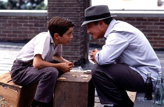 Arty (Mike Damus) picking up widsom from his uncle Louie (Richard Dreyfuss)
